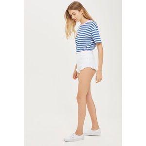 Topshop White Kiri High-Waist Denim Shorts